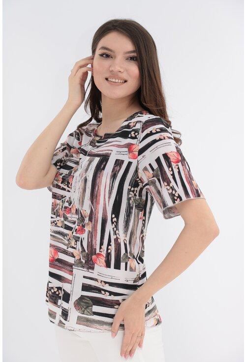 Bluza alba cu print abstract caramiziu si negru