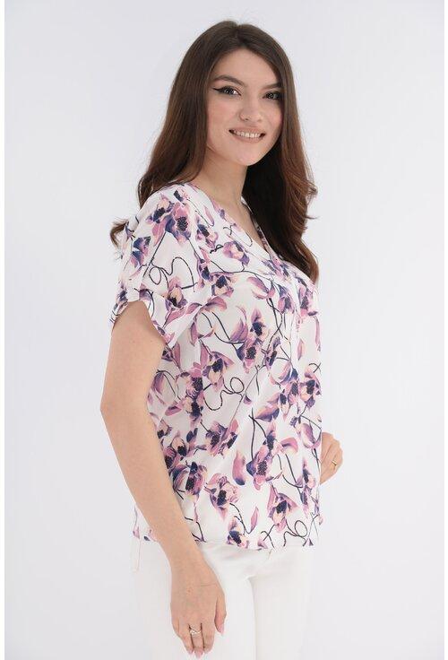 Bluza alba cu print floral lila
