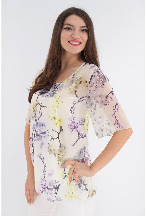 Bluza alba din voal cu flori galbene si lila