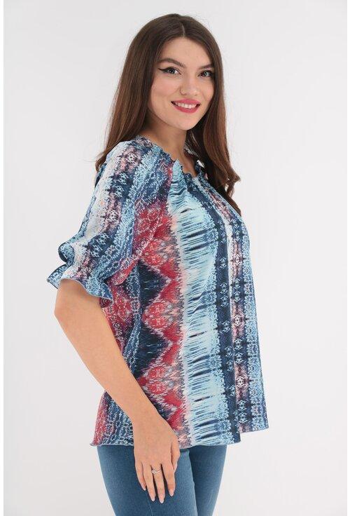 Bluza albastra cu print abstract rosu