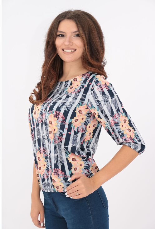 Bluza bleumarin cu dungi gri si flori roz piersica