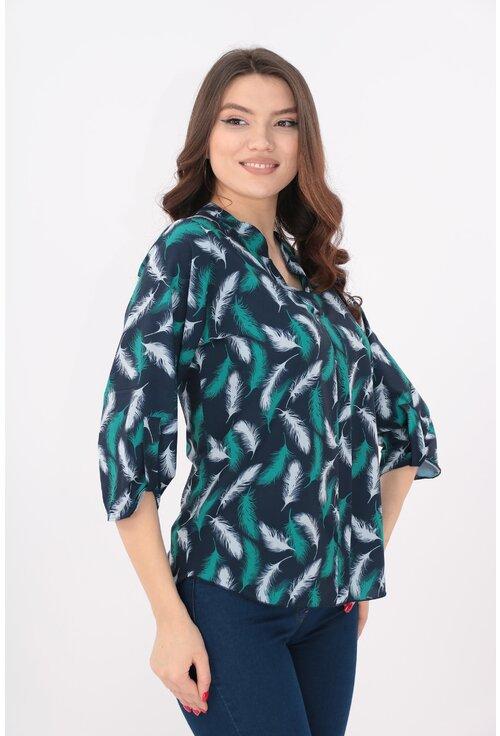Bluza bleumarin cu pene turcoaz si guler tunica