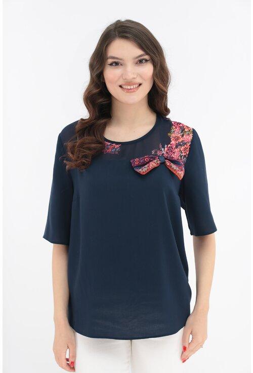 Bluza bleumarin cu platca si fundita cu print floral