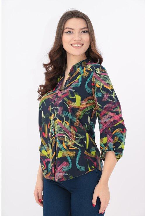 Bluza bleumarin cu print abstract multicolor si guler tunica