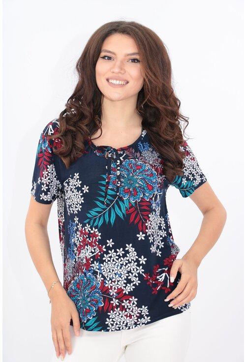 Bluza bleumarin cu print floral alb-rosu