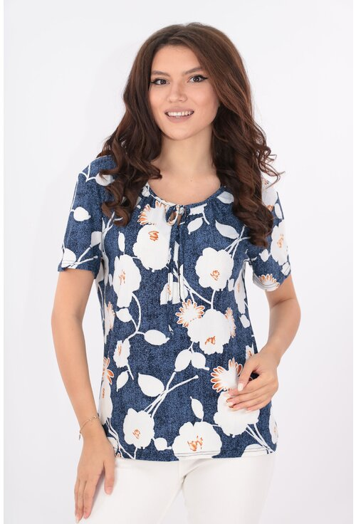 Bluza bleumarin cu print floral maxi alb