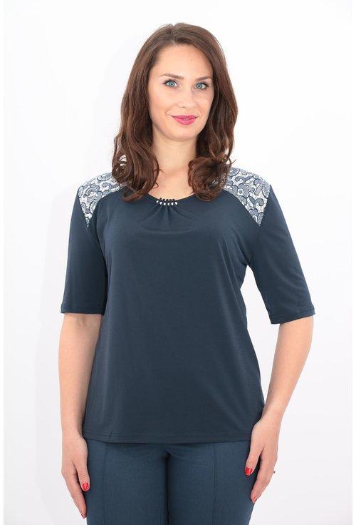 Bluza bleumarin cu print floral pe umeri