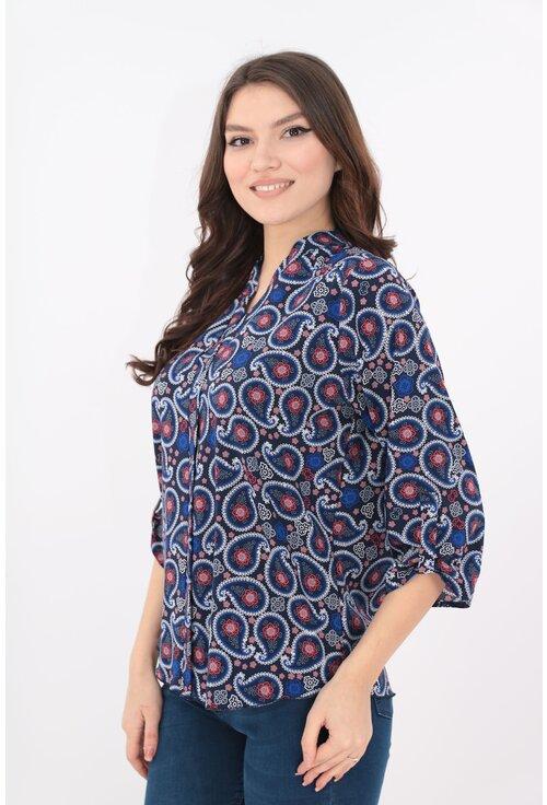 Bluza bleumarin cu print floral rosu-albastru