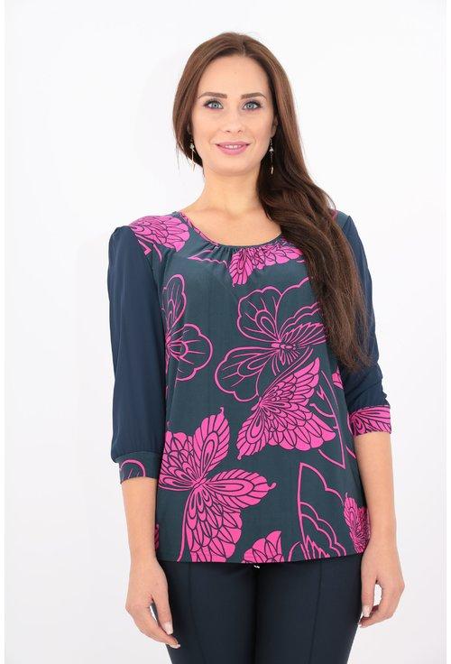Bluza bleumarin cu print fucsia