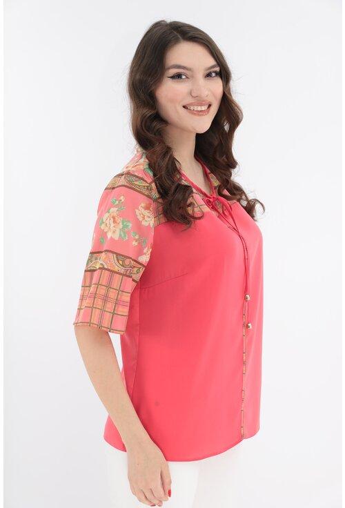 Bluza corai cu platca si maneci din voal cu print floral