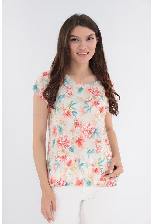 Bluza cu flori corai si turcoaz