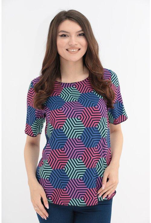 Bluza cu hexagoane multicolore