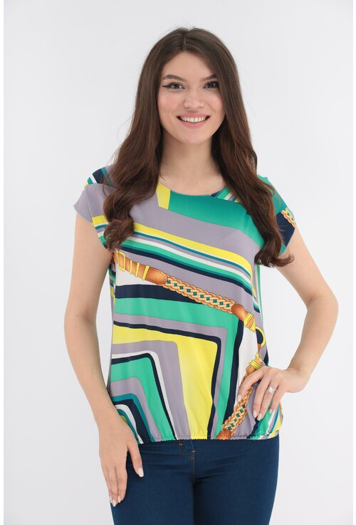 Bluza cu imprimeu abstract galben-verde