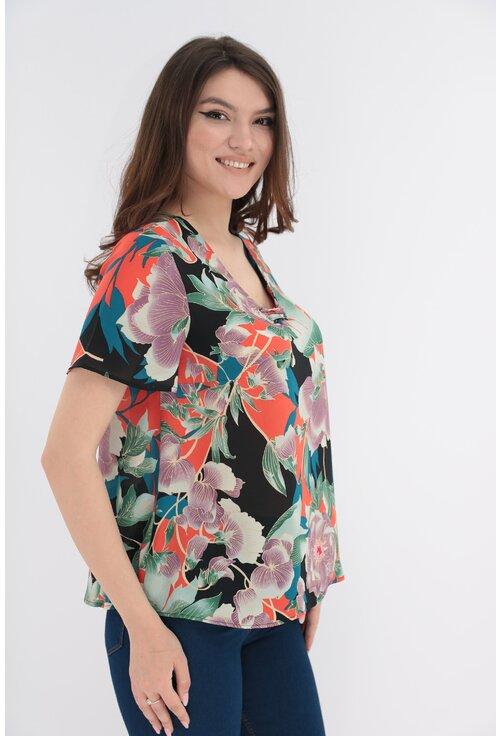 Bluza cu imprimeu floral maxi cu siret