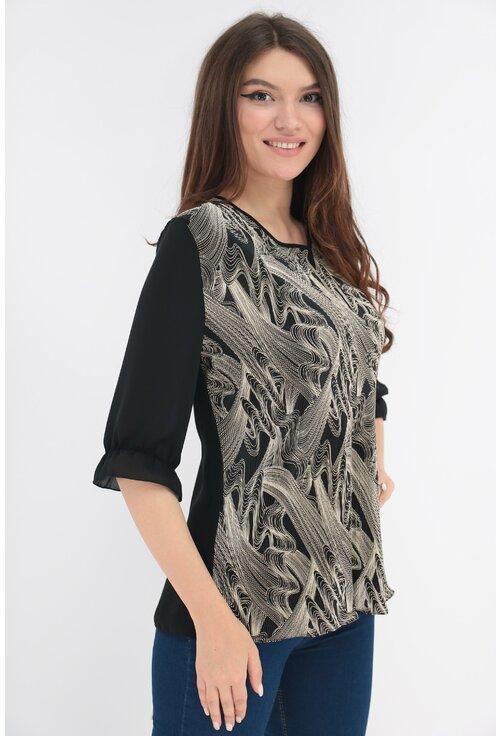 Bluza cu print abstract crem si spatele negru