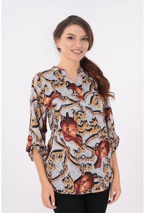 Bluza cu print abstract maro si guler tunica