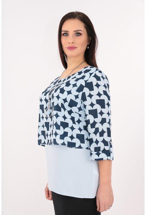 Bluza cu print geometric bleu