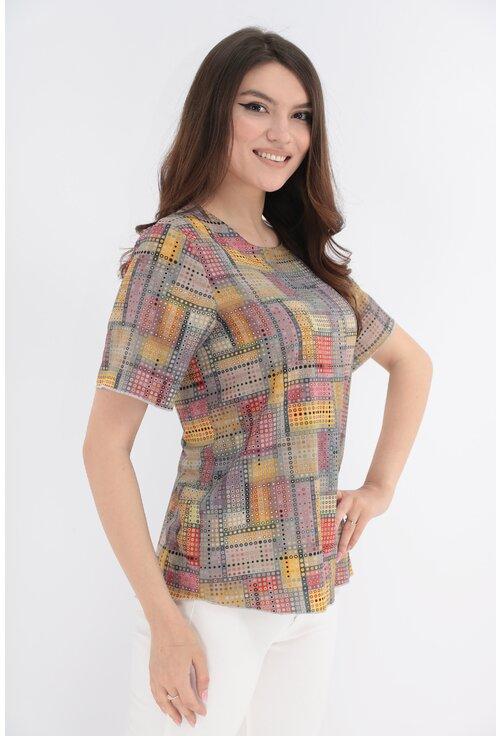 Bluza cu print geometric galben-gri