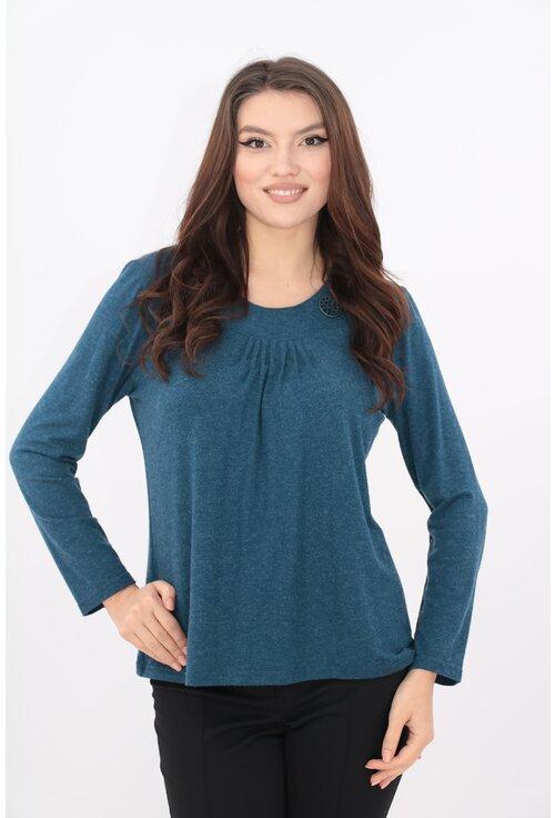 Bluza din tricot albastru cu pliuri