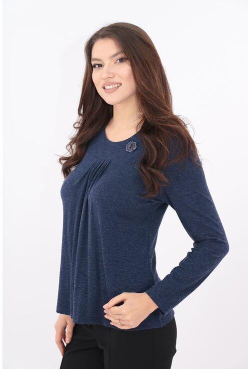Bluza din tricot indigo cu pliuri