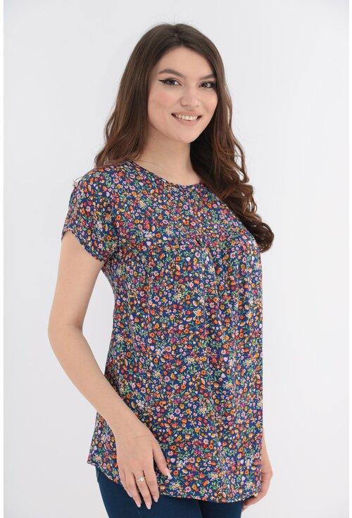Bluza din vascoza albastra cu print floral multicolor