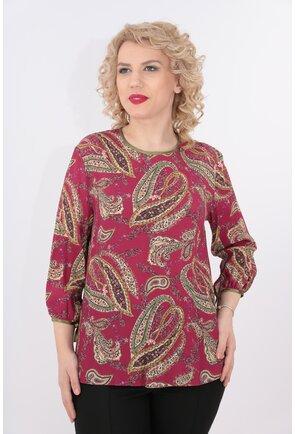 Bluza din vascoza ciclamen cu print floral