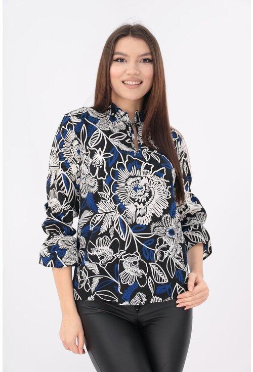Bluza din vascoza imprimata cu desen albastru