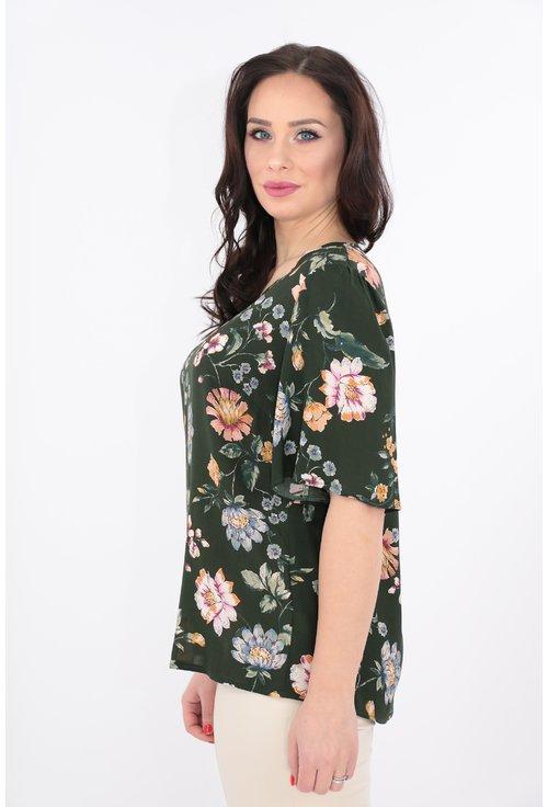 Bluza din vascoza kaki cu print floral