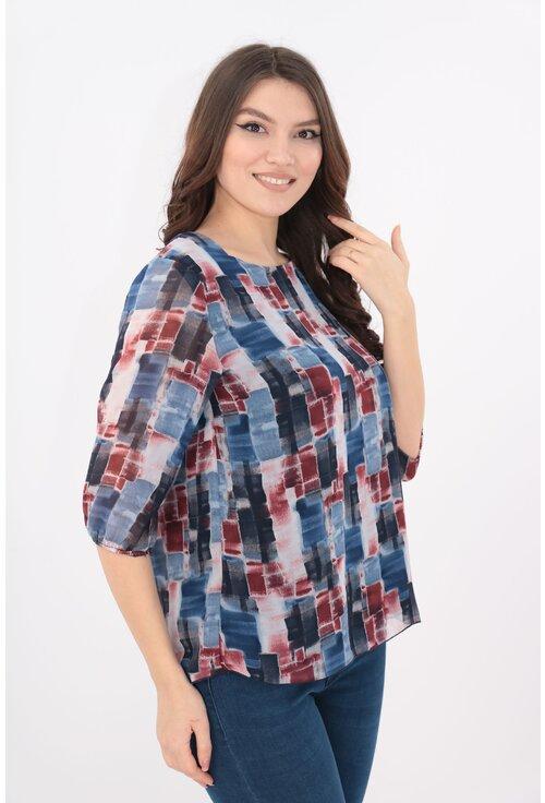 Bluza din voal cu print abstract bordo-albastru