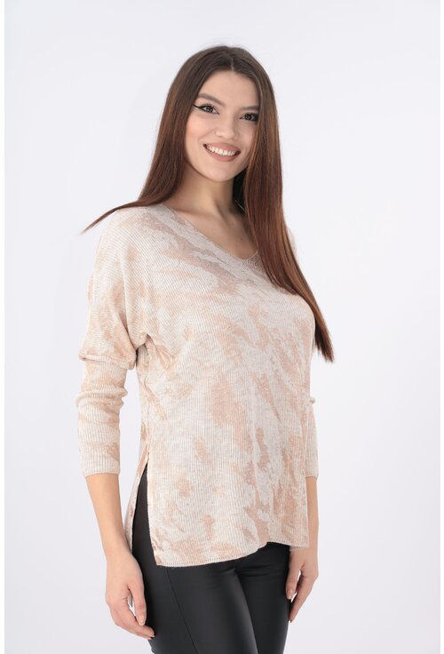Bluza eleganta crem cu print aramiu