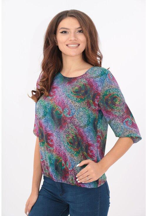 Bluza fucsia cu desen multicolor mozaic