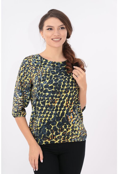Bluza galbena cu animal print bleumarin