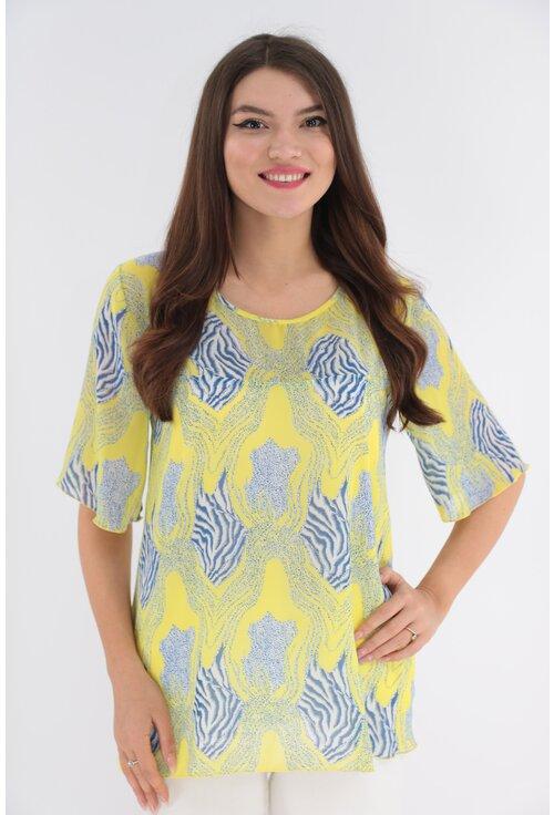 Bluza galbena din voal cu imprimeu abstract