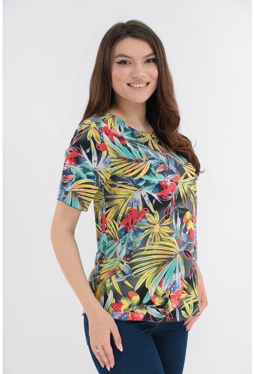 Bluza gri inchis cu print tropical