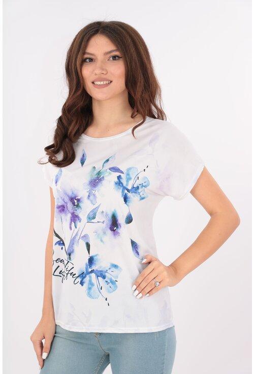 Bluza lejera alba cu print floral mov-albastru