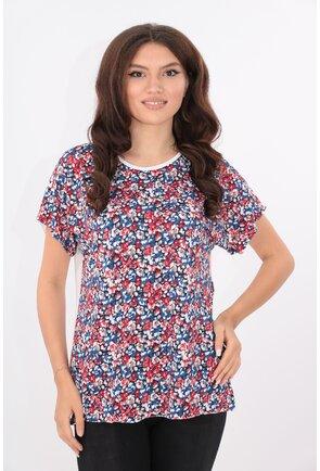 Bluza lejera alba cu print floral rosu-albastru