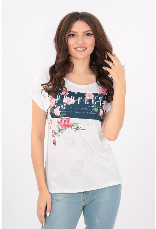 Bluza lejera alba cu trandafiri roz si text
