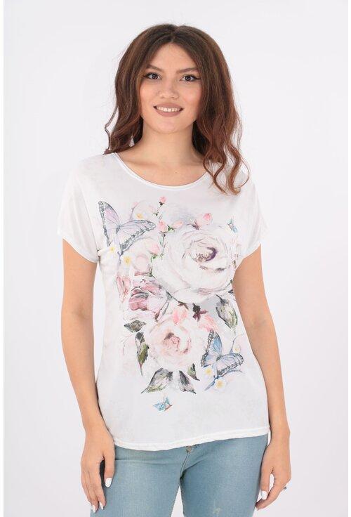 Bluza lejera alba cu trandafiri si fluturi roz