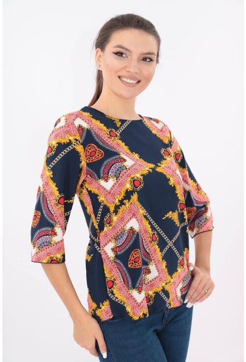 Bluza lejera bleumarin cu desen geometric maxi auriu
