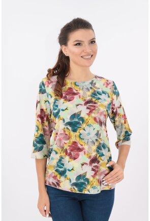 Bluza lejera crem cu desen floral