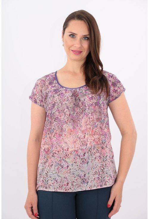 Bluza lila din voal cu bordura roz