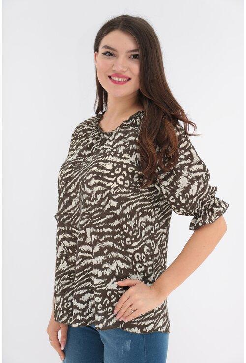 Bluza maro cu animal print ivory