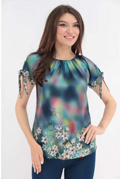 Bluza multicolora cu print floral si fundite la maneci
