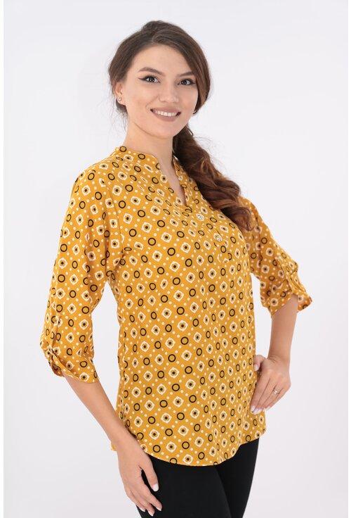 Bluza mustar cu print geometric si guler tunica