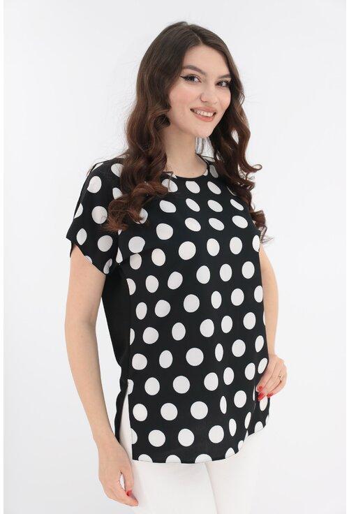 Bluza neagra cu print cu buline albe