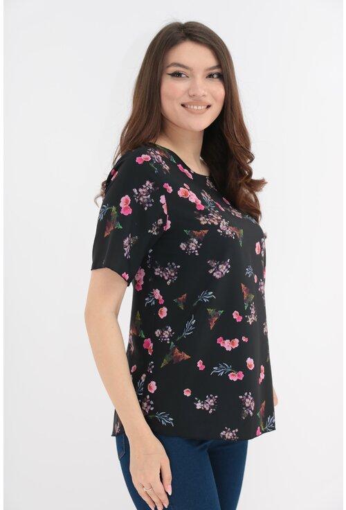 Bluza neagra cu print floral roz
