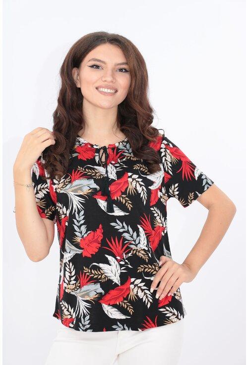Bluza neagra din vascoza cu frunze rosii