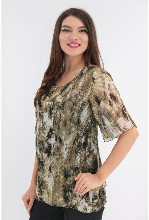 Bluza olive din voal cu imprimeu abstract