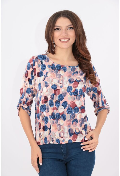 Bluza roz cu buline maxi multicolore