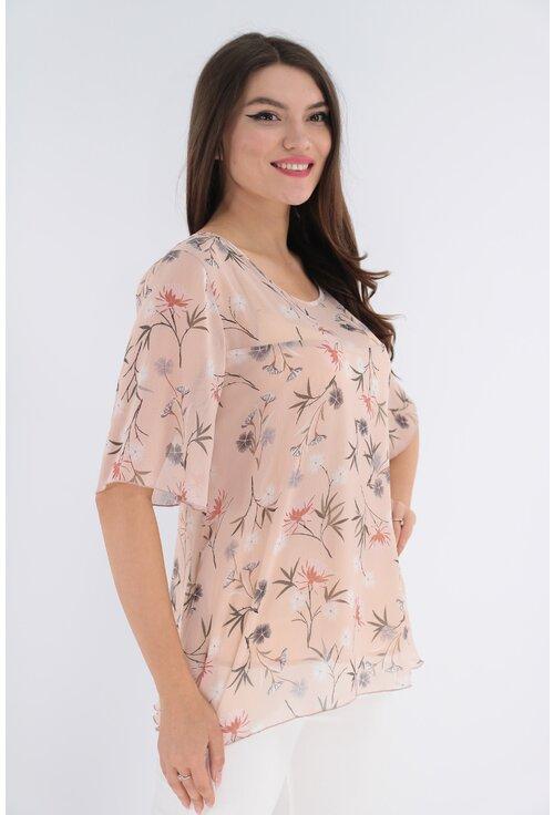 Bluza roz pudra din voal cu print floral gri